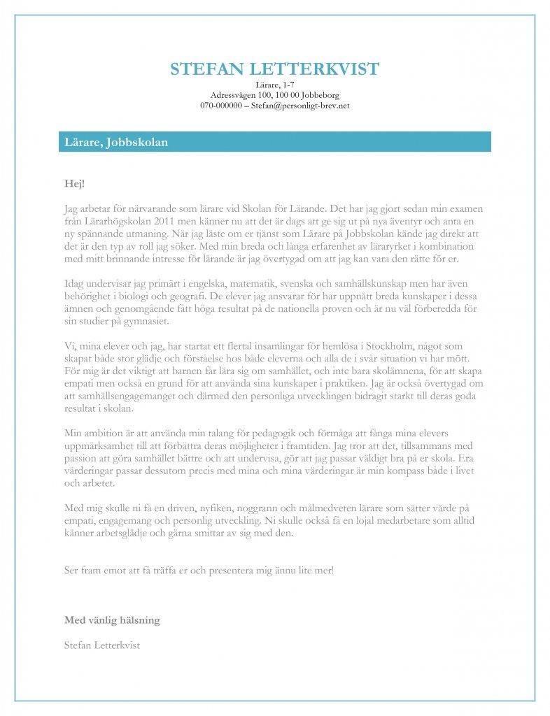 Personligt brev lärare