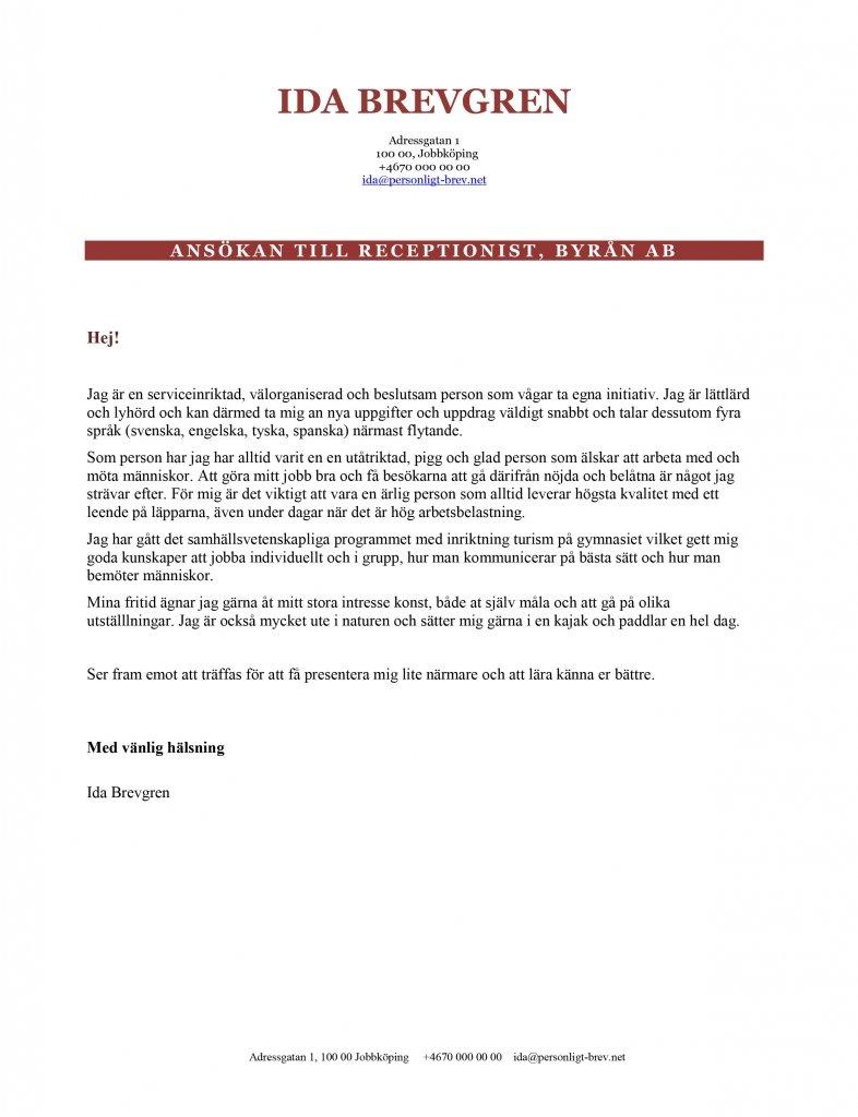 personligt brev ungdom