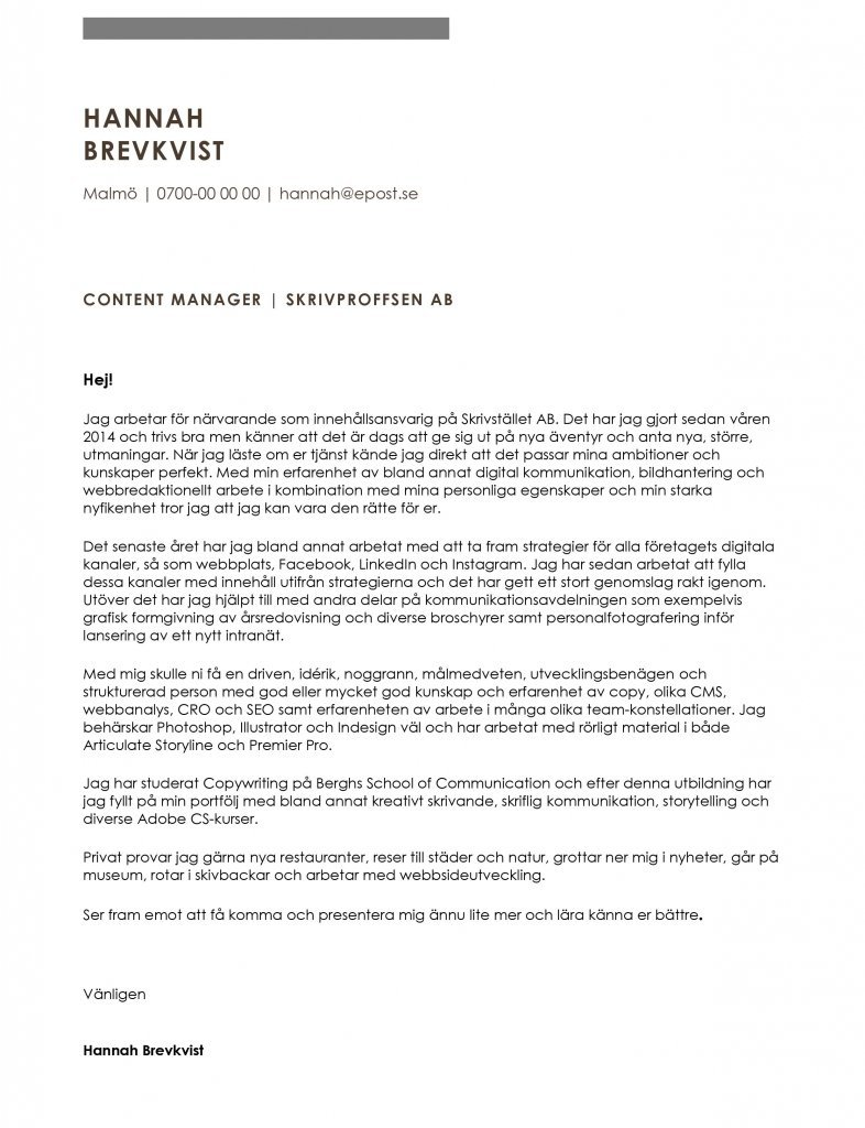 Personligt brev content manager