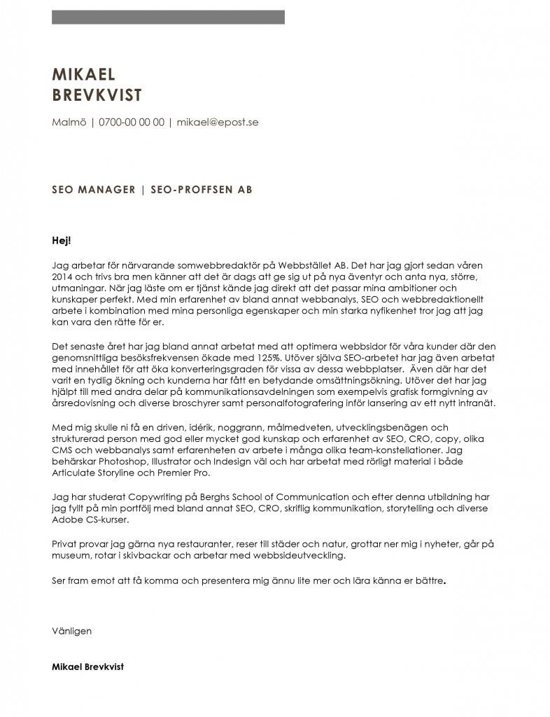 Personligt brev seo manager