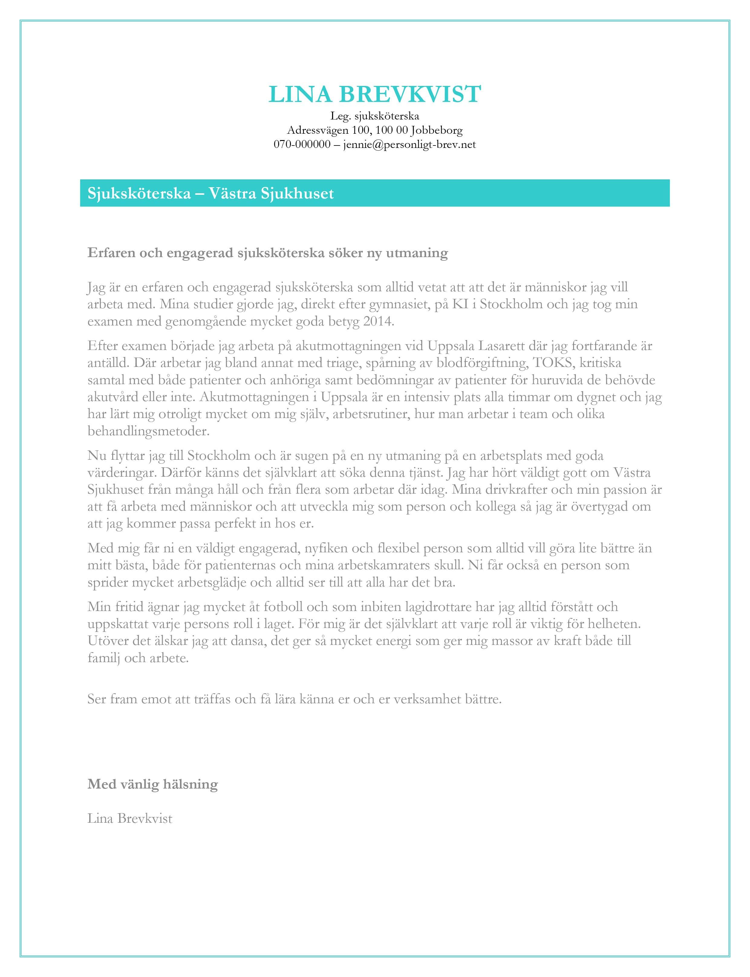 Personligt brev sjuksköterska
