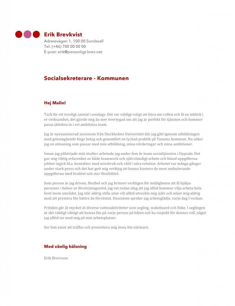 Exempel personligt brev socialsekreterare