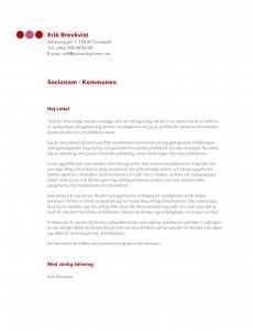 Personligt brev exempel socionom