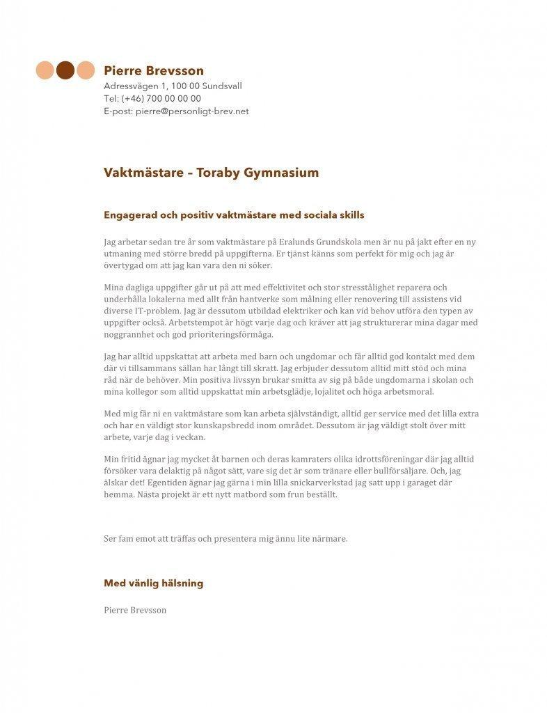 Personligt brev vaktmästare