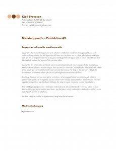 Personligt brev mall maskinoperatör