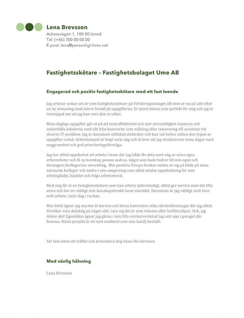 Personligt brev fastighetsskötare