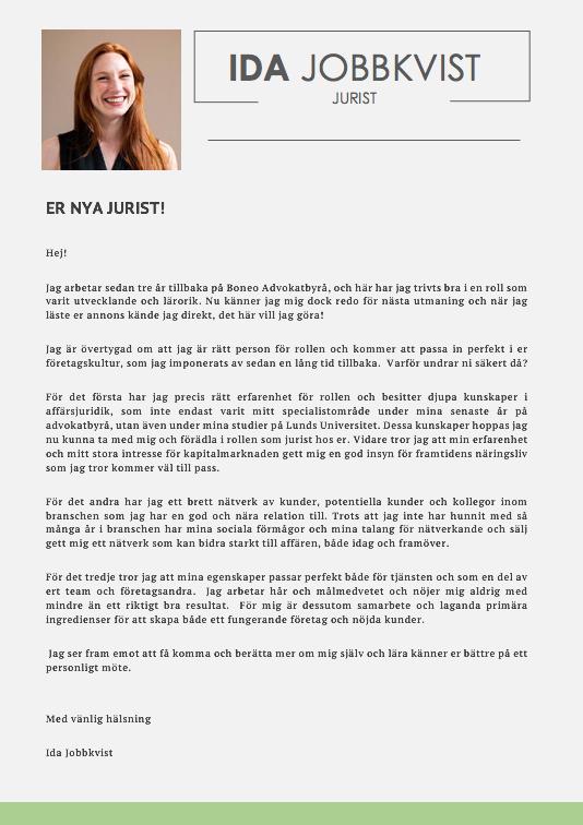 Personligt brev jurist
